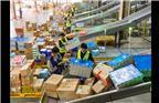 """同样忙碌的还有物流企业。2017年11月8日,位于南京雨花台的苏宁""""超级云仓""""开始进入""""双十一""""倒计时,号称""""亚洲最大智慧物流基地""""的苏宁云仓总面积20多万平方米,日处理包裹最高达到181万件,拣选效率达到每人每小时1200件,每个订单最快可在30分钟内出库。图为员工在分拣机区派工发货。"""