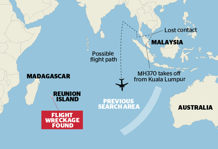残骸发现地点为马达加斯加岛东南方向约1000公里的