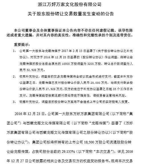 赵薇收购万家文化生变 30亿元降为5亿元