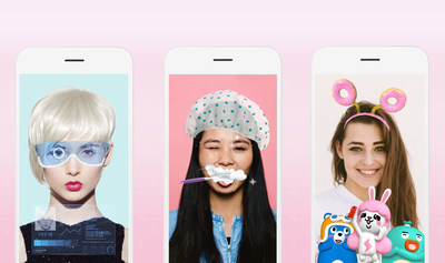 从左至右分别为:Selfie from the Future'(明日自拍), 'Meitu Family'(美图家族) 、'Instant Glam'(瞬间魅力)