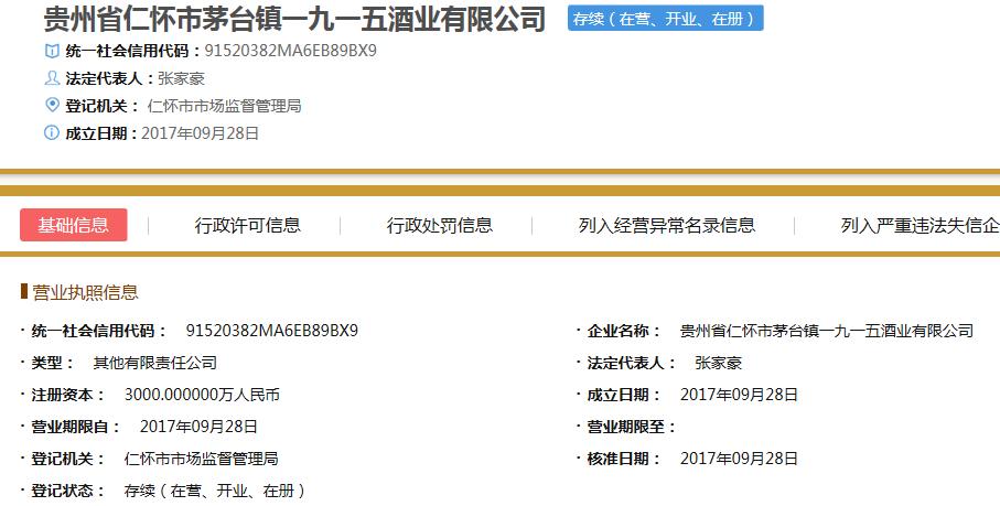 茅台镇一九一五酒业信息  来源:国家企业信用信息公示系统