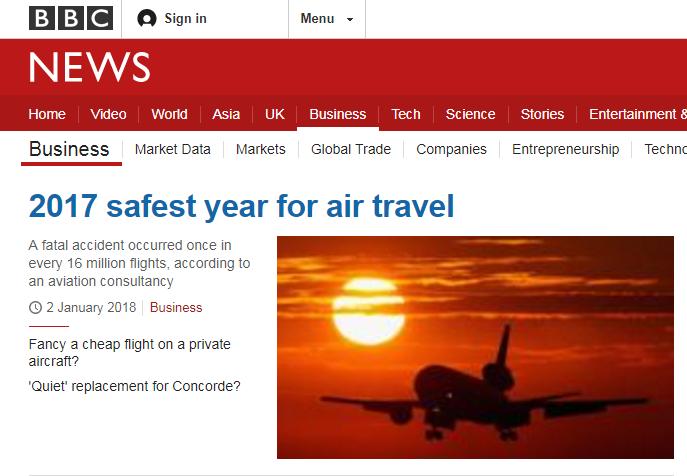 """【2017年是民航史上""""最安全一年""""】根据荷兰咨询公司 to70和航空安全"""