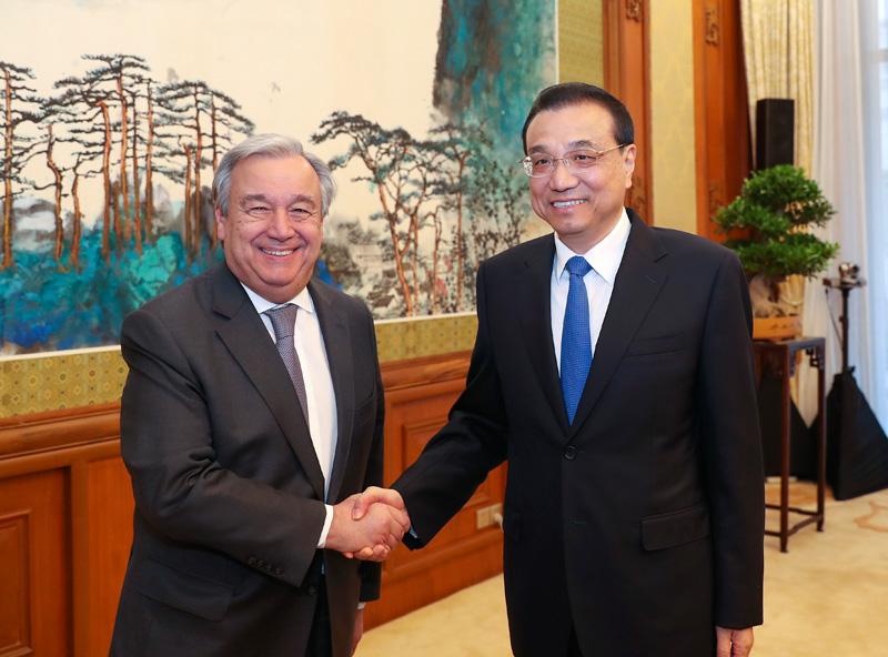 李克强会见联合国秘书长: 贸易战损害世界人民共同利益