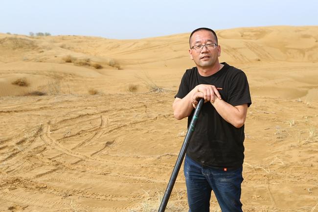 共青生态园主任张飞,在库布齐沙漠工作了12年。