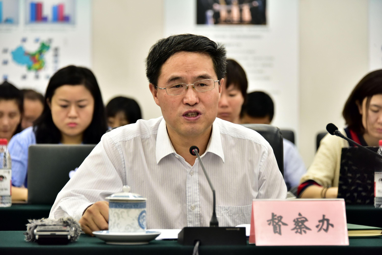5月11日,國家環境保護督察辦副主任劉長根在約談會上通報督察情況。攝影/章軻