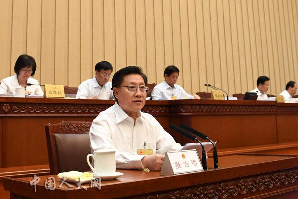 全国人大常委会副委员长王东明作全国人大常委会执法检查组关于检查统计法实施情况的报告