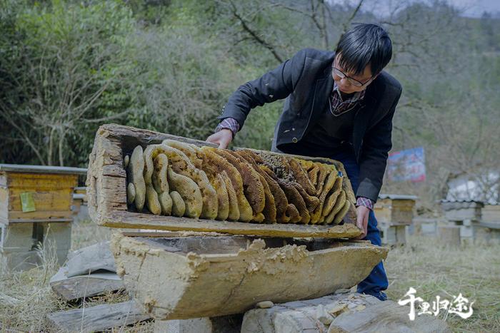 廖开兵家里还留着爷爷用过的老式土蜂箱,每次看到它们,他都会想到爷爷。摄影记者/胡军