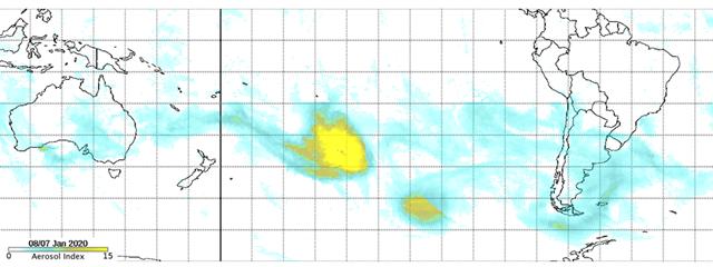 NASA1月7/8日的卫星图表显示澳山火的烟尘已飘至南美洲。(来源:NASA)