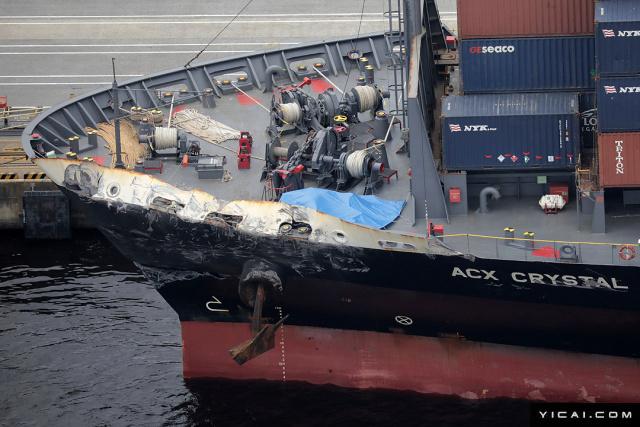 当地时间2017年6月18日,日本东京,与美军舰相撞的菲律宾籍货船ACX Crystal号停靠在东京Oi码头。