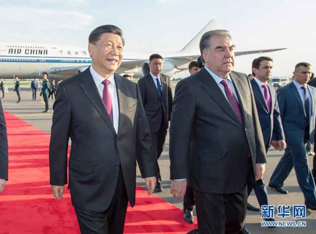 习近平抵达杜尚别出席亚信峰会并对塔吉克斯坦进行国事访问