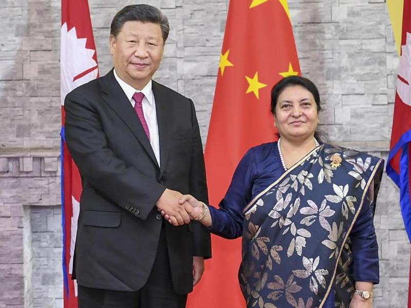 習近平會見尼泊爾總統班達里