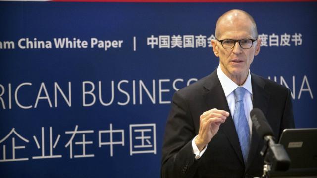 2017年4月18日,中国美国商会主席蔡瑞德在2017年度《美国企业在中国白皮书》发布会上演讲。