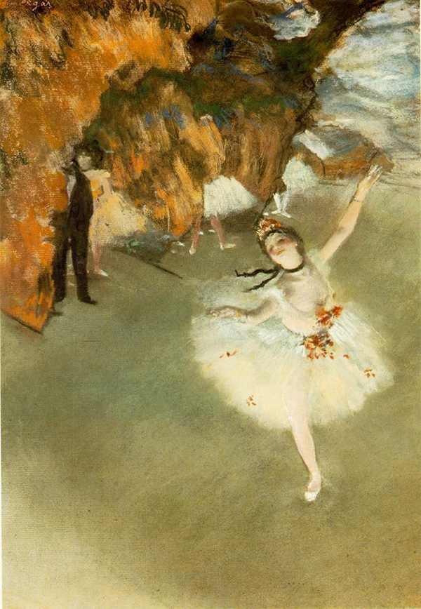 在印象派代外画家德添的画作中,最常见的就是芭蕾舞的场景。
