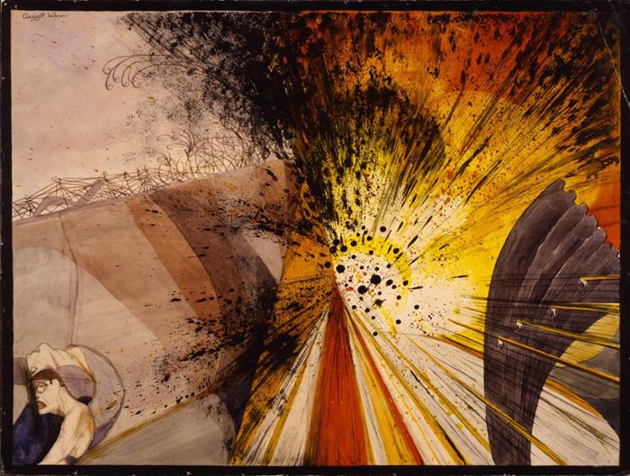 画家Claggett Wilson曾在一战法国战场经历过残酷的战斗。搏斗终止后,他在医院中以水彩画画下本身的搏斗经历。图片来源网络