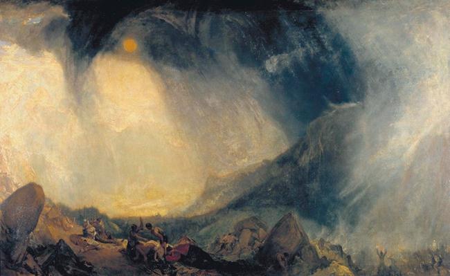 透纳的名作《风雪暴:汉尼拔与他的军队过阿尔卑斯山》(Snow Storm:Hannibal and his Army Crossing the Alps),描绘了一个极其危险和壮不悦目的场面