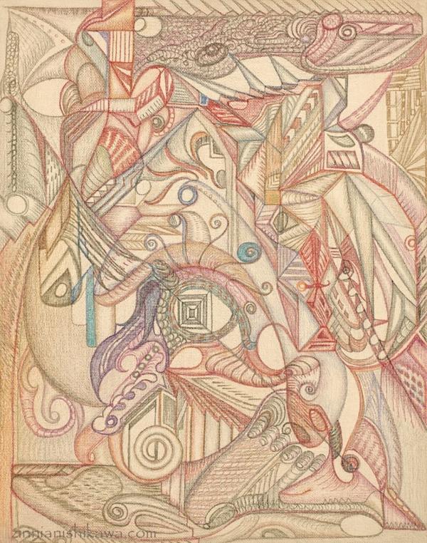 訾焘,《遥远之城》,2017,布板彩铅,36×28inch(图片由艺术家提供)