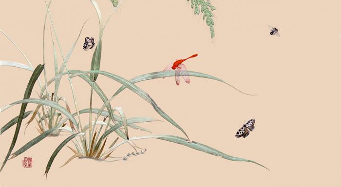江苏省工艺美术大师周莹华丝绣作品《嘉禾虫草图》