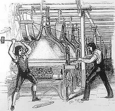 (图片说明:工业革命中打砸机器的卢德运动;图片来源:网络)