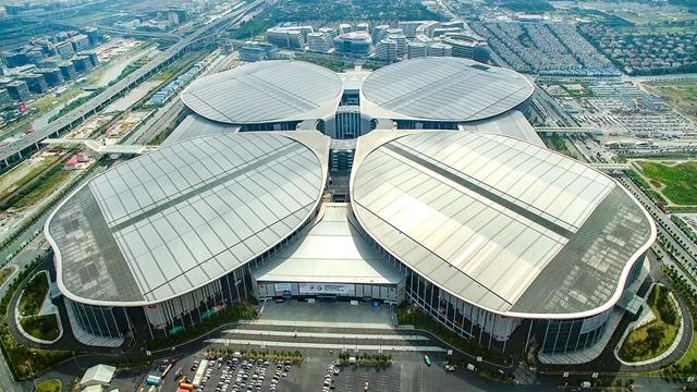 進口博覽會舉辦地國家會展中心航拍圖