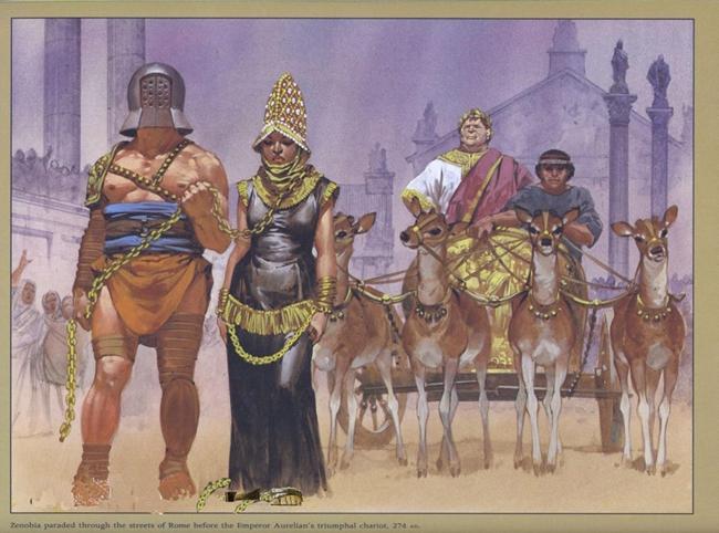 公元三世纪叙利亚帕尔米拉王国女王芝诺比娅,被俘虏后,押送到罗马城。