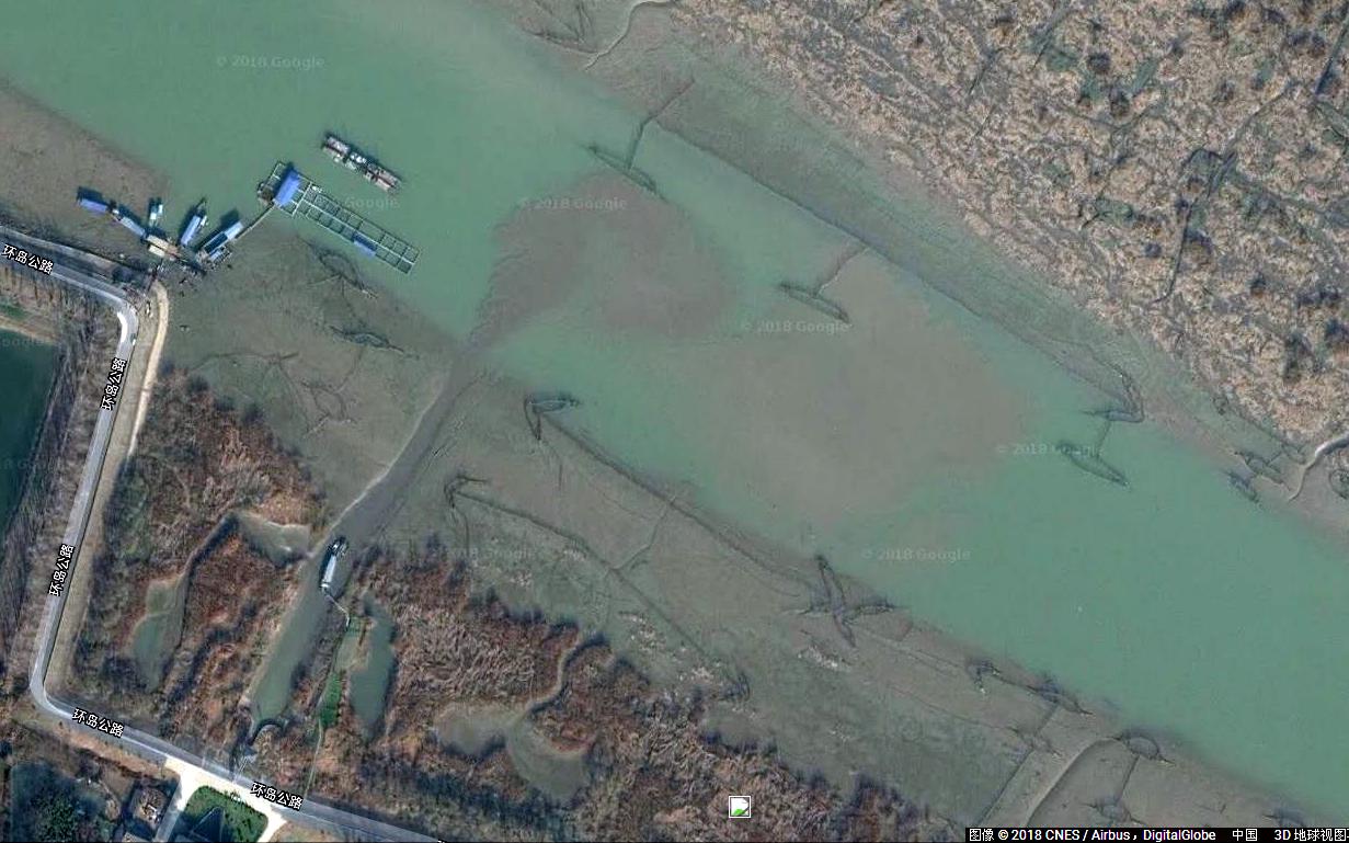 卫星地图图像(2018年)显示,扬中市城市污水向长江直排。