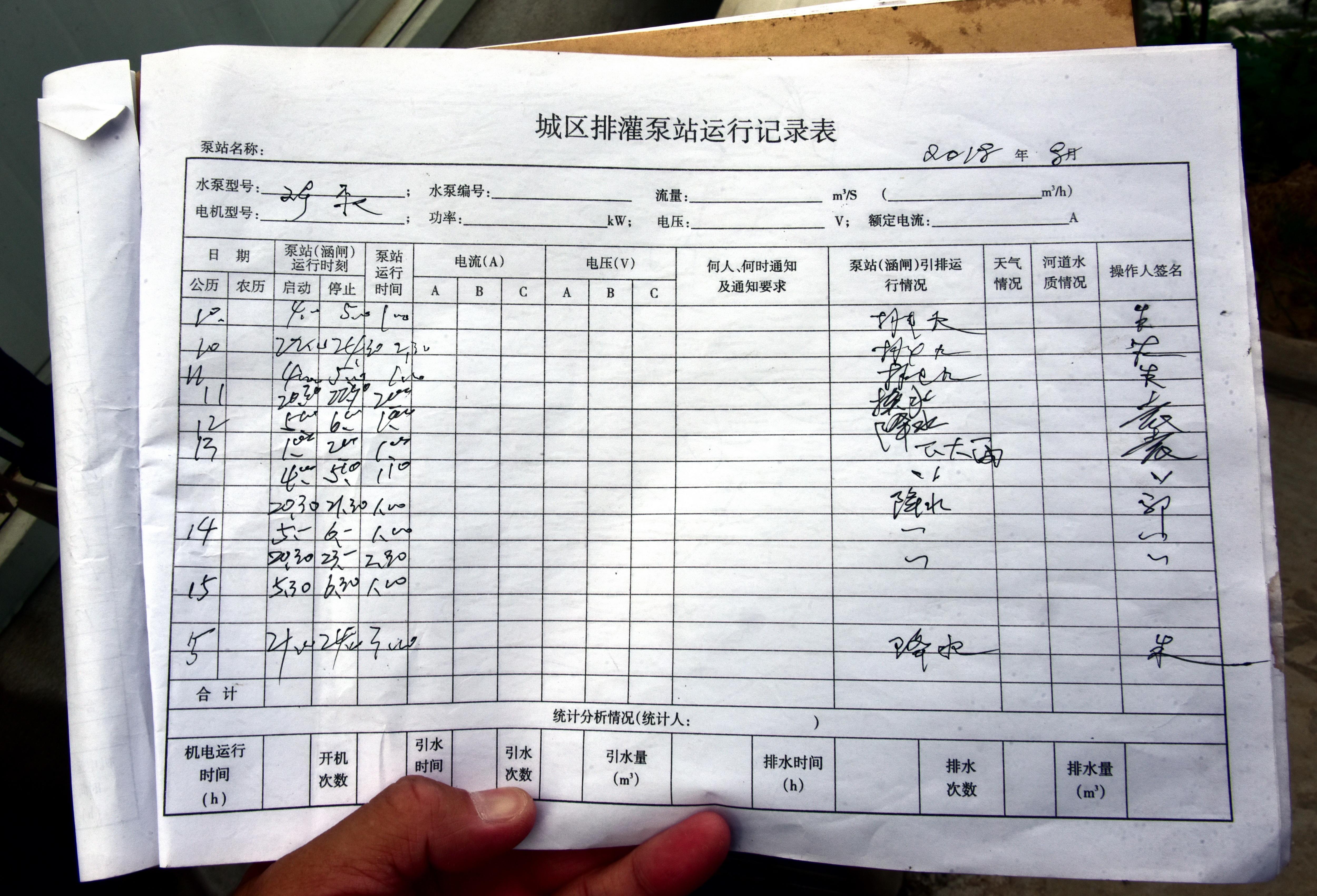 扬中市彩凤桥的城区排灌泵站运行记录簿。图为8月份出水记录。摄影/章轲