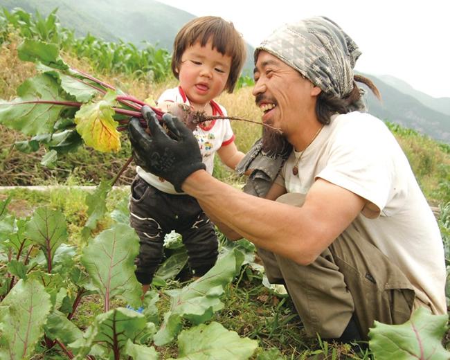 蹒跚学步的儿子跟着六来到田间,认识了萝卜。