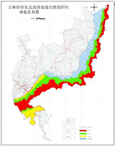 吉林珲春东北虎国家级自然保护区功能区划图。资料来源:珲春市环保局