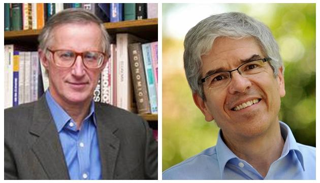 威廉·诺德豪斯和保罗·罗默(右)分享了2018年诺贝尔经济学奖。