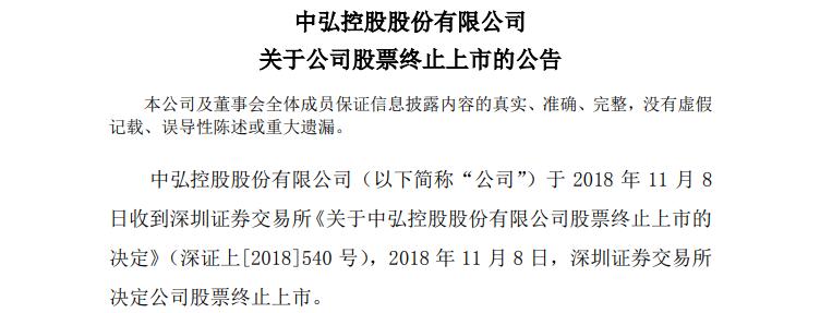 中弘股份:预计最后交易日期为12月27日