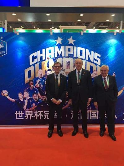 进博会的法国馆也不忘展示其足球实力。(来源:法国驻华大使馆)