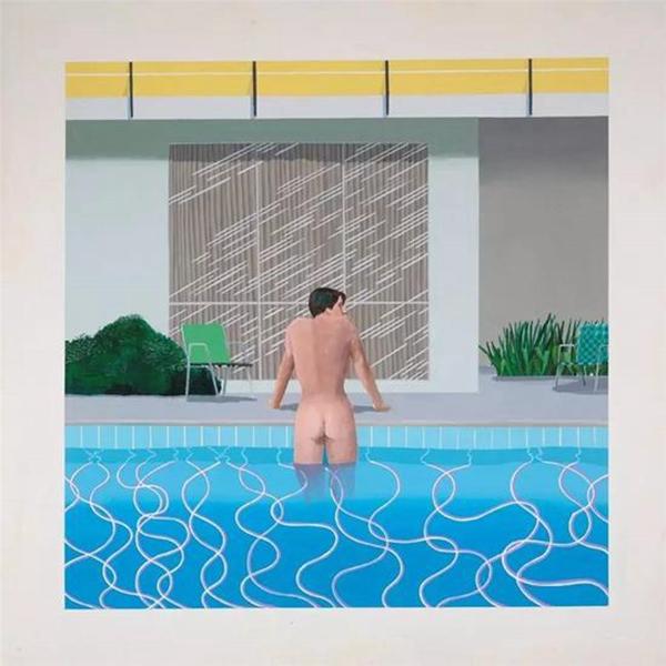 大卫-霍克尼作品《彼得从尼克泳池中出来》。图片来自网络