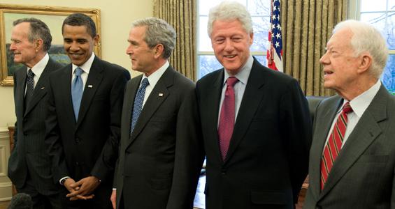 老布什与其他四位已卸任美国总统