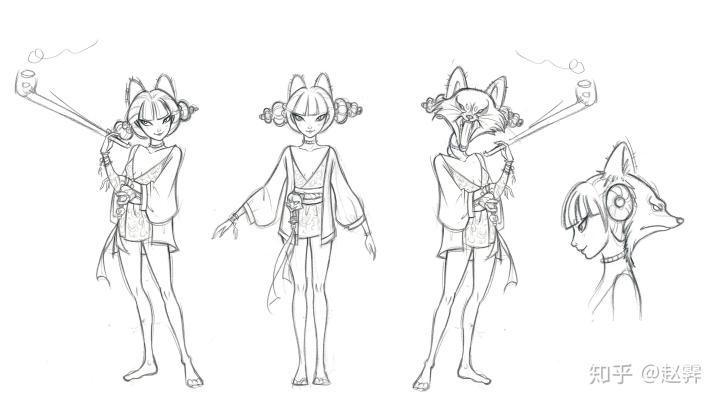 最终定稿的宝青坊主狐妖的线稿,这也是整部动画非常受欢迎的一个角色。图片来源:赵霁的知乎账号