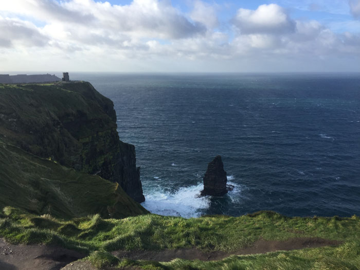 换一个角度看莫赫断崖。海风中沿着悬崖边缘行走,颇为刺激