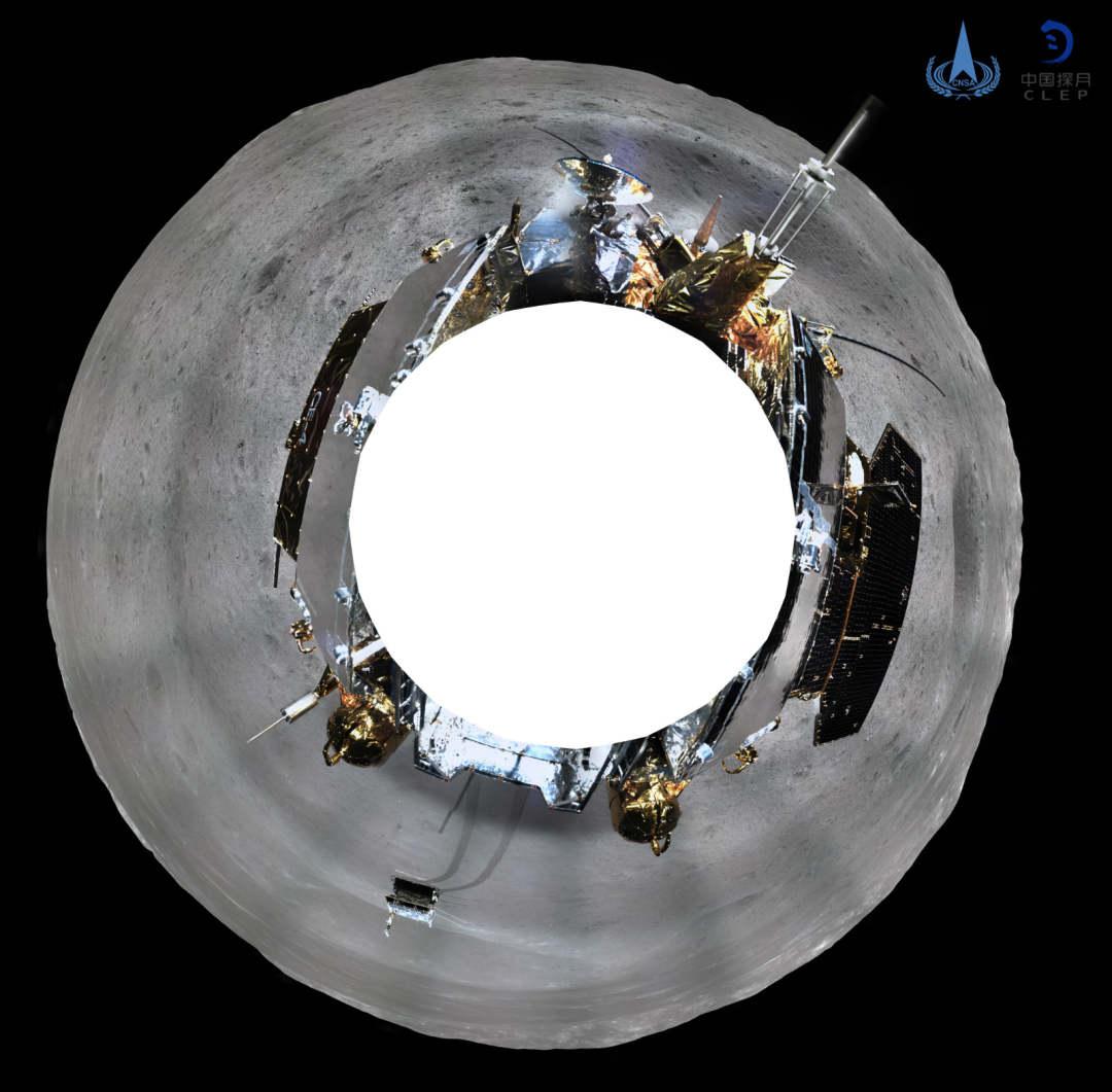 嫦娥四号着陆器地形地貌相机环拍全景图(圆柱投影)