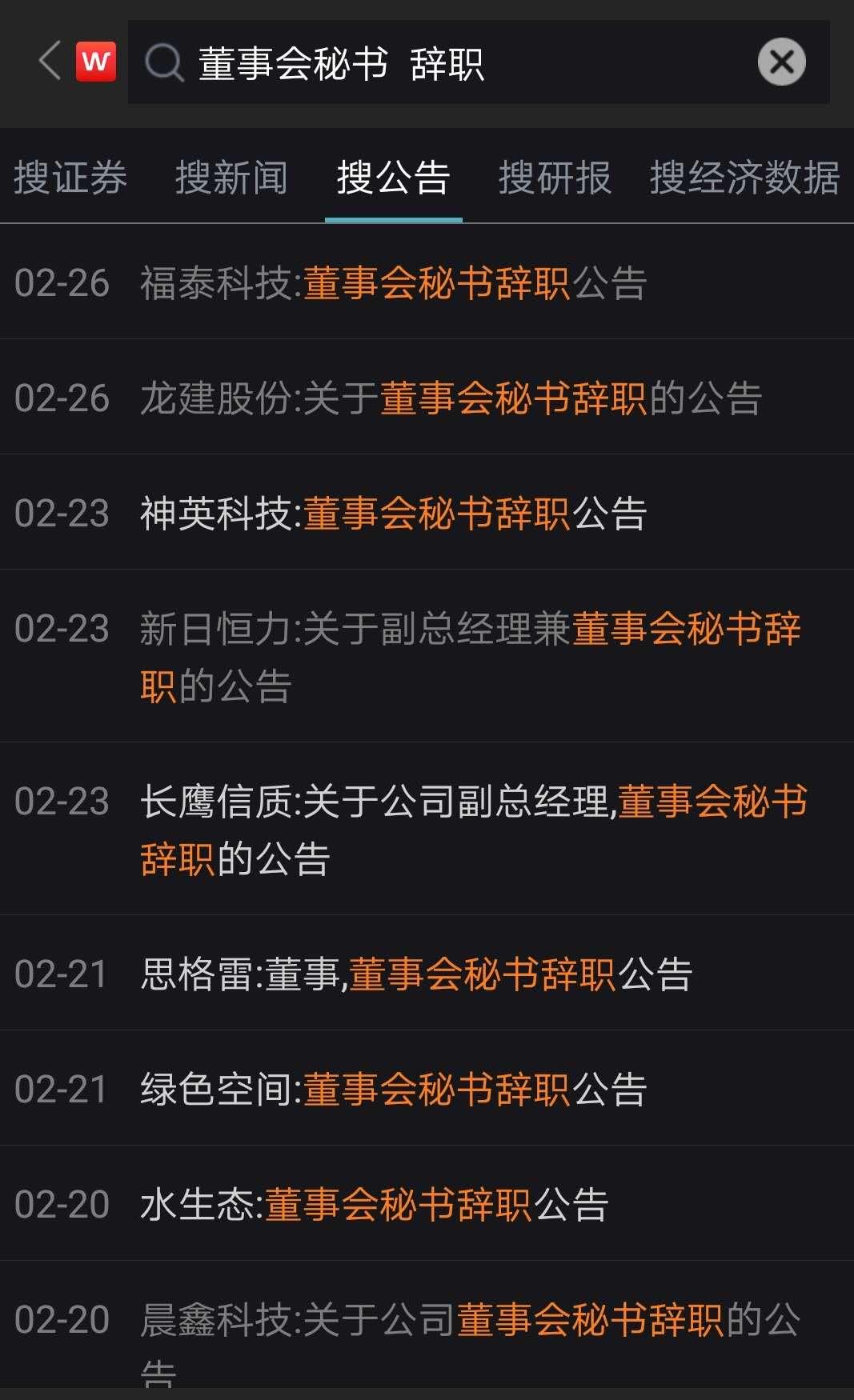 部分董秘辞职公告(资料来源:wind)