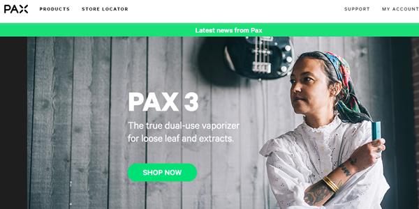 美国电子烟和大麻雾化器制造商Pax Labs官网截图
