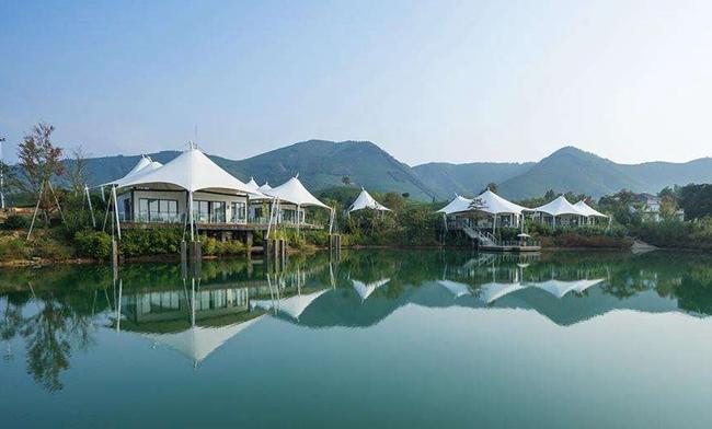 第一家帐篷客酒店位于浙江安吉万亩白茶园(图片来自官网)