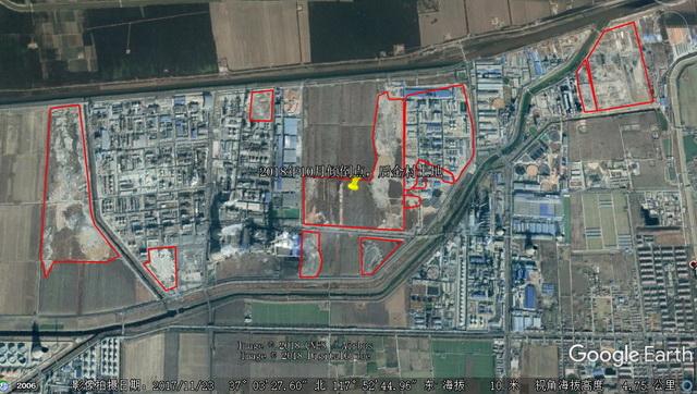 博汇集团非法填埋固体废物位置示意图(红线内为填埋区域)。资料来源:中央环保督察组