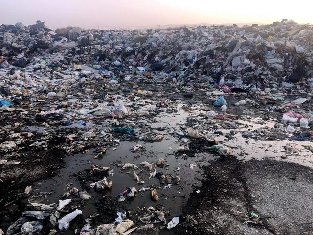 小望海村临时垃圾堆场渗滤液横流。资料来源:中央环保督察组