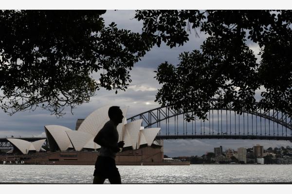 一名男子在澳大利亚悉尼皇家植物园锻炼。新华社资料图