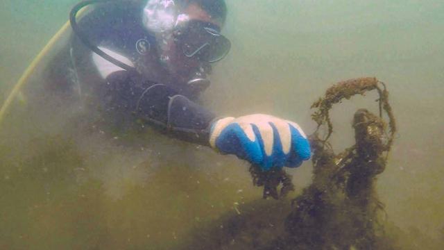 2918年秦皇岛参加活动的志愿者在清理海洋垃圾