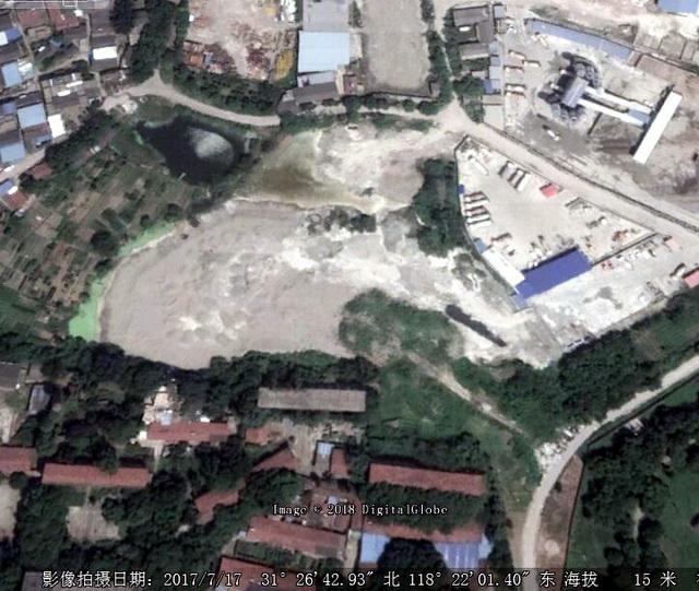 2017年7月卫星图片显示,水塘已被全部填满。资料来源:中央环保督察组