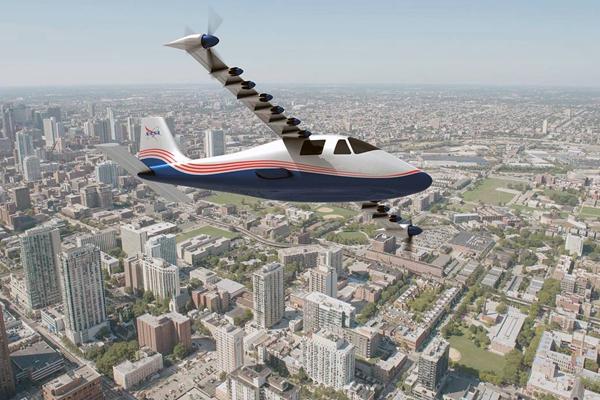 美国航空航天局(NASA)的 X-57 Maxwell 电动飞机搭载了14个电力发动机。图为艺术假想图。来源:NASA