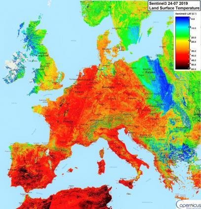 欧洲高温图     来源:WMO网站