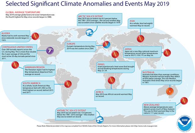 全球五月气候异常事件              来源:WMO网站