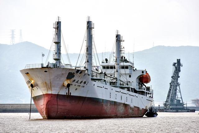 浙江省宁波港区的船舶。摄影/章轲