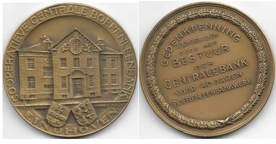 1898年成立的荷兰埃因霍温中央合作银行的高浮雕铜章