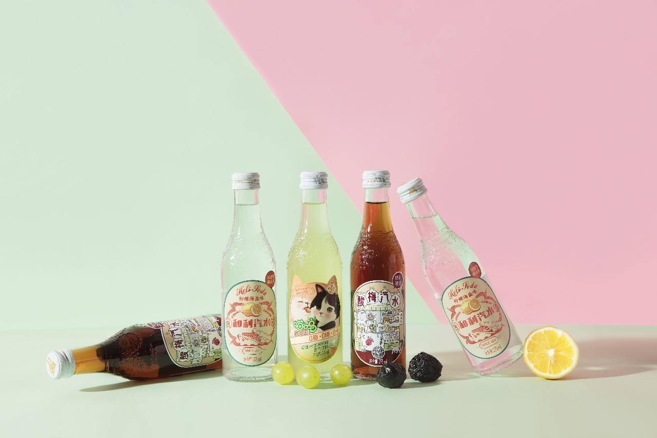 汉口二厂保留了滨江汽水的玻璃瓶材质,在瓶身上设计了花纹。